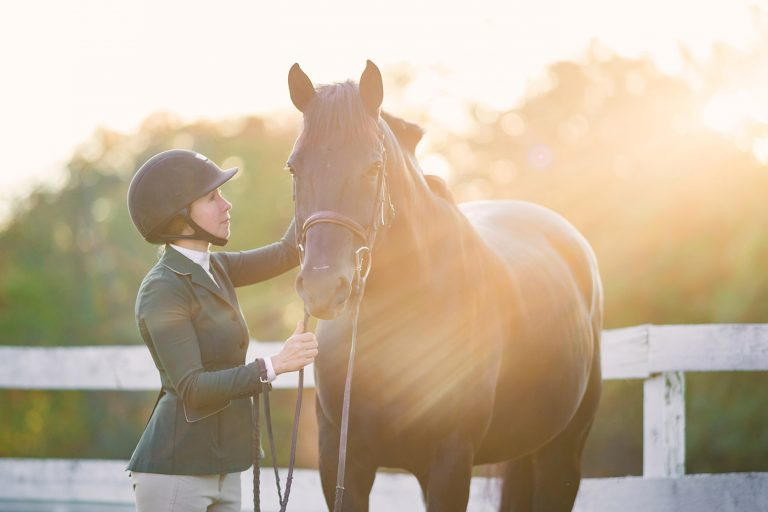 equine portrait of a woman and black warmblood in sunset